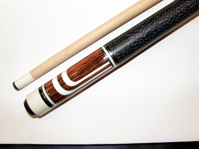 "Brown - White 58"" 2 Piece Hardwood Maple Pool Cue Billiard Stick 19 ounce"